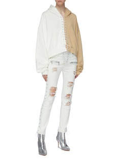 Ben Taverniti Unravel Project  Lace-up outseam ripped skinny jeans