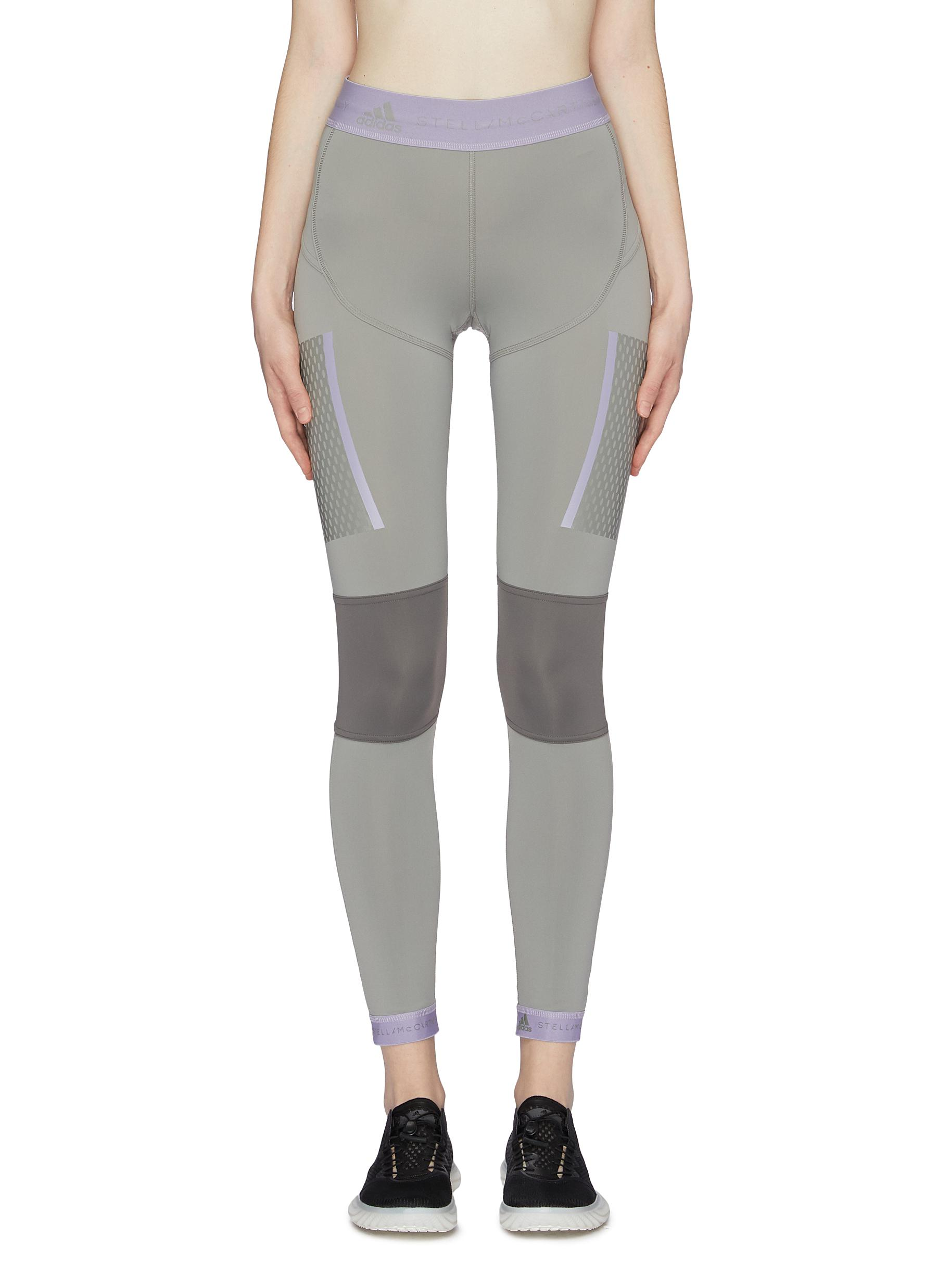 65a168b4d2f9d ADIDAS BY STELLA MCCARTNEY. Contrast logo jacquard border panelled Climalite®  running tights