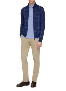 ISAIA Reversible windowpane check cotton zip cardigan