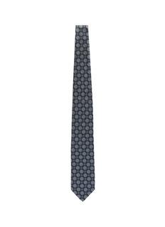 ISAIA Floral circle jacquard silk tie