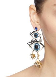 Elizabeth Cole 'Mara' Swarovski crystal eye star drop earrings