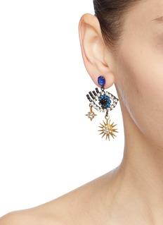 Elizabeth Cole 'Hamsa' Swarovski crystal eye star drop earrings