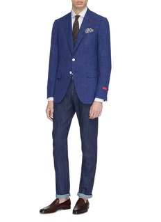 ISAIA 'Gregory' windowpane check wool blend blazer