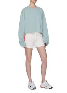 MOTHER 'The Sinner' stripe outseam frayed cuff denim shorts