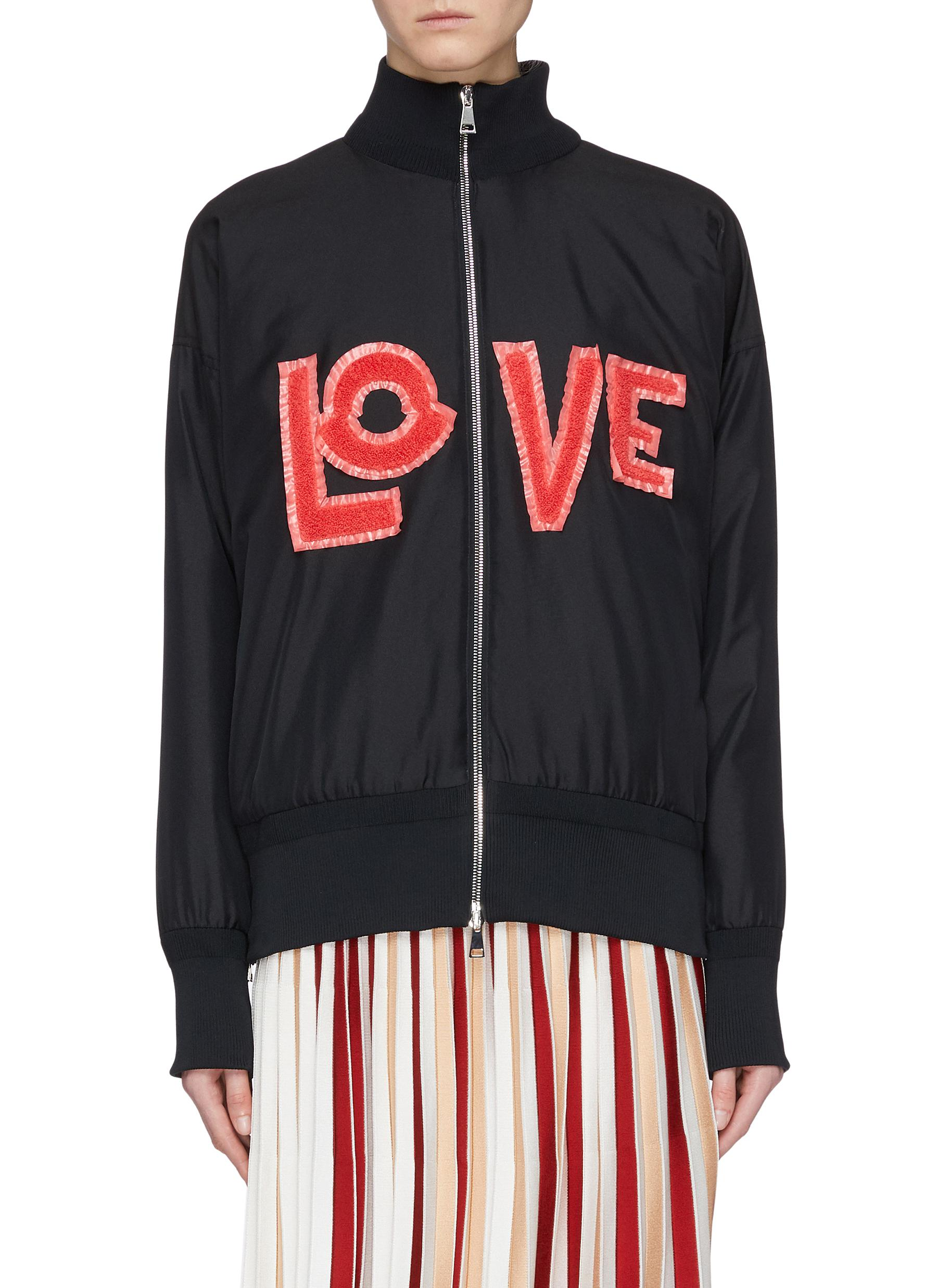 x 1952 Love chenille patch down padded bomber jacket by Moncler Genius