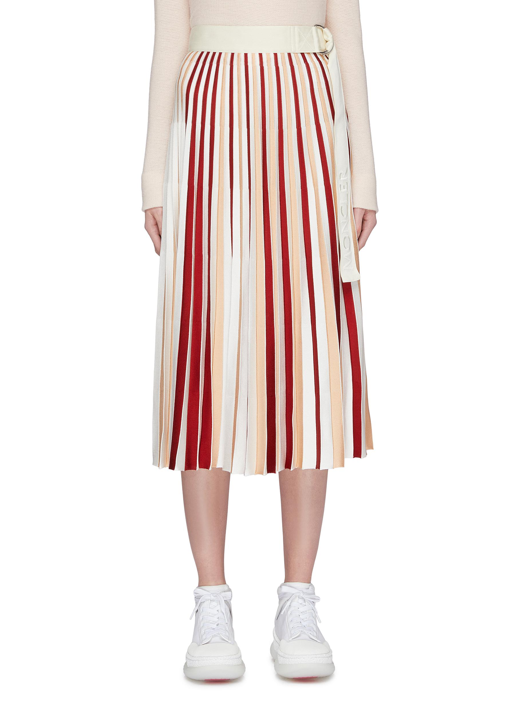 x 1952 belted contrast stripe pleated knit skirt by Moncler Genius