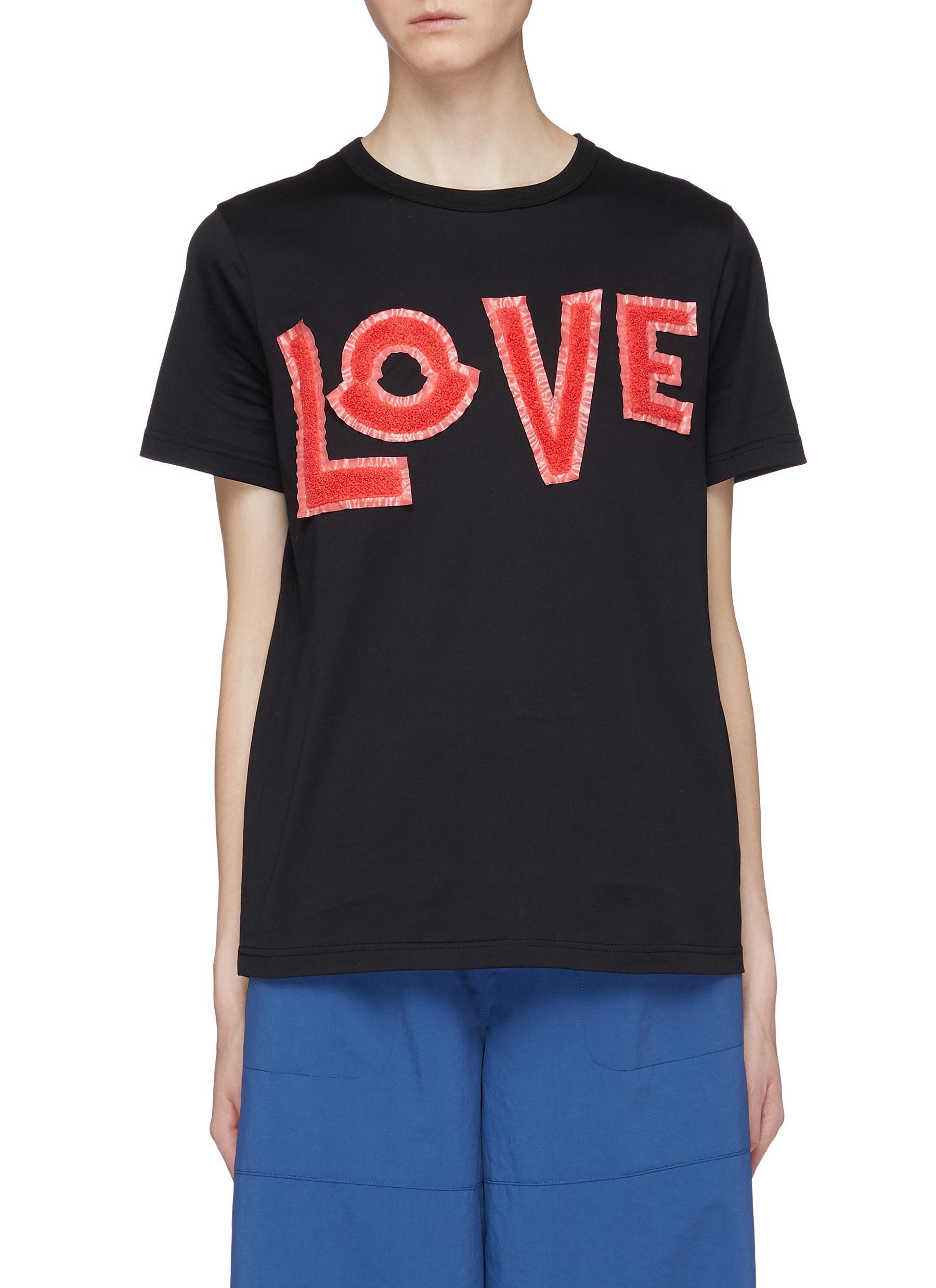 de5f0714 Moncler Genius | x 1952 'Love' chenille patch T-shirt | Women | Lane ...