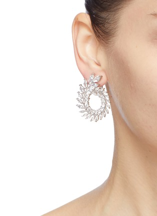 Figure View - Click To Enlarge - CZ by Kenneth Jay Lane - Cubic zirconia foliate spiral clip earrings