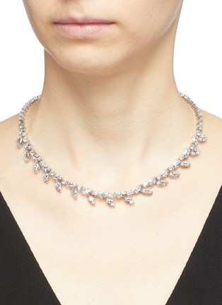 Figure View - Click To Enlarge - CZ by Kenneth Jay Lane - Cubic zirconia foliate vine necklace