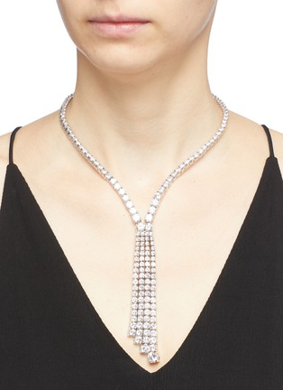 Figure View - Click To Enlarge - CZ by Kenneth Jay Lane - Cubic zirconia tassel fringe necklace