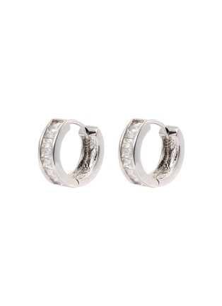 Main View - Click To Enlarge - CZ by Kenneth Jay Lane - Cubic zirconia pavé mini hoop earrings