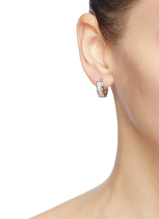 Figure View - Click To Enlarge - CZ BY KENNETH JAY LANE - Cubic zirconia pavé mini hoop earrings