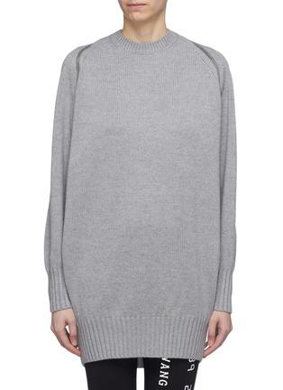 Main View - Click To Enlarge - ALEXANDERWANG - Zip shoulder Merino wool sweater