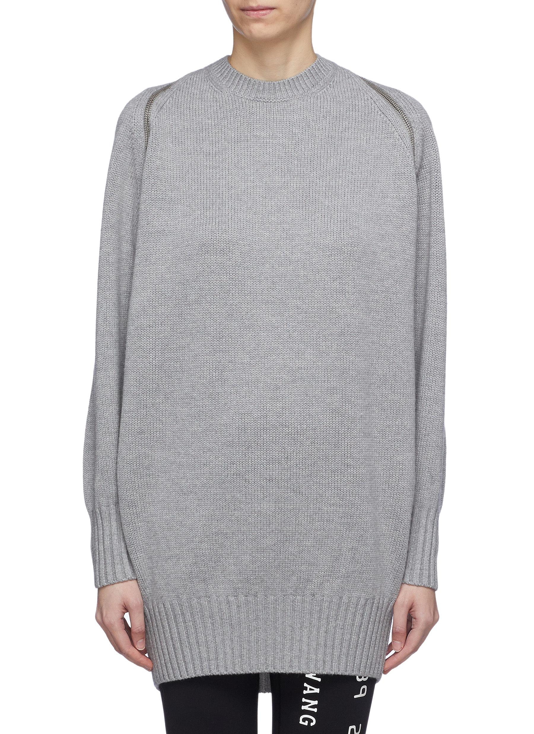 Buy Alexander Wang Knitwear Zip shoulder Merino wool sweater
