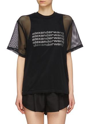 Main View - Click To Enlarge - ALEXANDER WANG - Logo print tank panel mesh overlay T-shirt