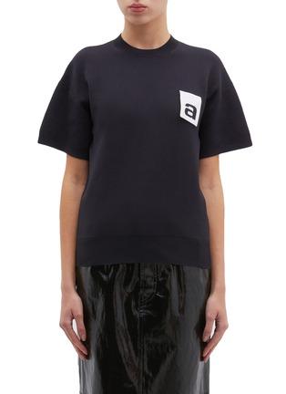 Main View - Click To Enlarge - ALEXANDERWANG - Logo patch knit T-shirt