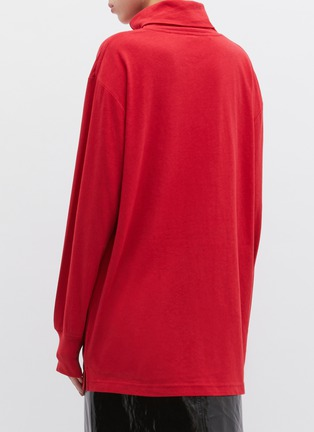 Back View - Click To Enlarge - ALEXANDERWANG - Logo embroidered oversized turtleneck long sleeve T-shirt