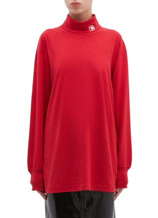 Main View - Click To Enlarge - ALEXANDERWANG - Logo embroidered oversized turtleneck long sleeve T-shirt