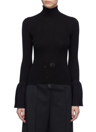 Main View - Click To Enlarge - ALEXANDERWANG - Bell cuff rib knit turtleneck top