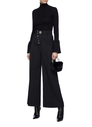 Figure View - Click To Enlarge - ALEXANDERWANG - Bell cuff rib knit turtleneck top