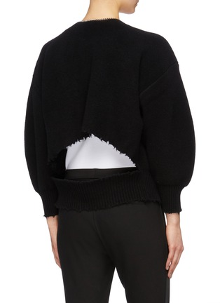 Back View - Click To Enlarge - ALEXANDER WANG - Chain placket ripped cutout back cardigan
