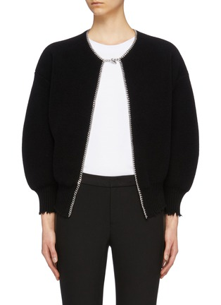 Main View - Click To Enlarge - ALEXANDER WANG - Chain placket ripped cutout back cardigan