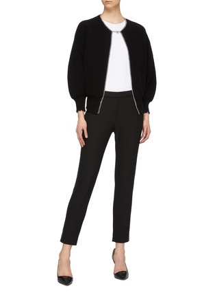 Figure View - Click To Enlarge - ALEXANDER WANG - Chain placket ripped cutout back cardigan