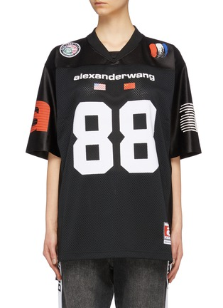 Main View - Click To Enlarge - ALEXANDERWANG - Logo number print contrast sleeve mesh oversized T-shirt