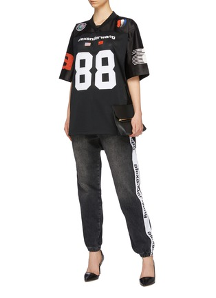 Figure View - Click To Enlarge - ALEXANDERWANG - Logo number print contrast sleeve mesh oversized T-shirt