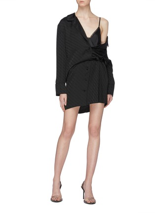 Figure View - Click To Enlarge - ALEXANDER WANG - Camisole panel logo one shoulder pyjama shirt dress