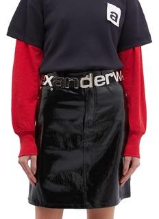 alexanderwang Logo metal plate rib knit belt