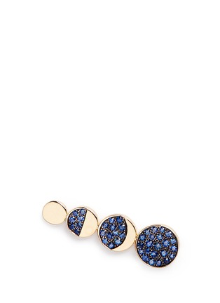 Main View - Click To Enlarge - Pamela Love - 'Moon Phase' sapphire 18k yellow gold single climber earring
