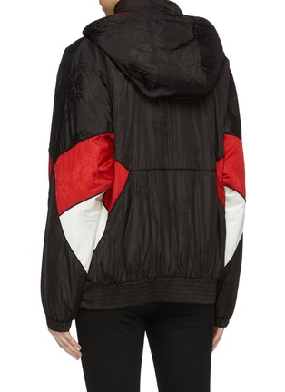 Back View - Click To Enlarge - ALEXANDER WANG - Logo embroidered colourblock panel hooded half-zip windbreaker jacket