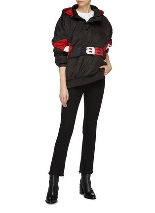 Figure View - Click To Enlarge - ALEXANDER WANG - Logo embroidered colourblock panel hooded half-zip windbreaker jacket