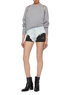 alexanderwang Logo print layered panel ripped denim shorts