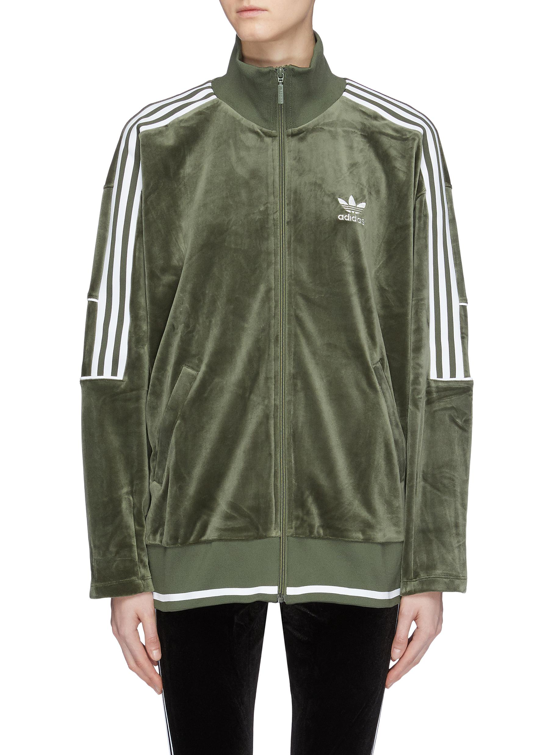 ba6948ab2ea3 Main View - Click To Enlarge - adidas - 3-Stripes sleeve velvet track jacket