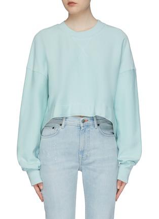 Main View - Click To Enlarge - bassike - Raw hem cropped sweatshirt