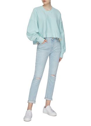 Figure View - Click To Enlarge - bassike - Raw hem cropped sweatshirt
