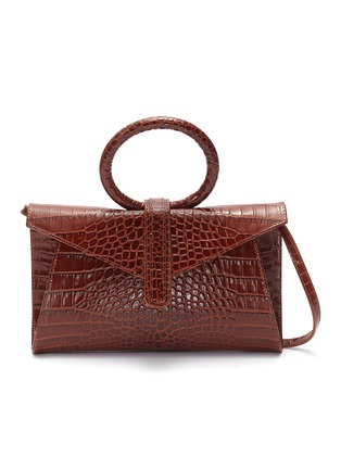 Main View - Click To Enlarge - COMPLÉT - 'Valery' ring handle mini croc embossed leather clutch