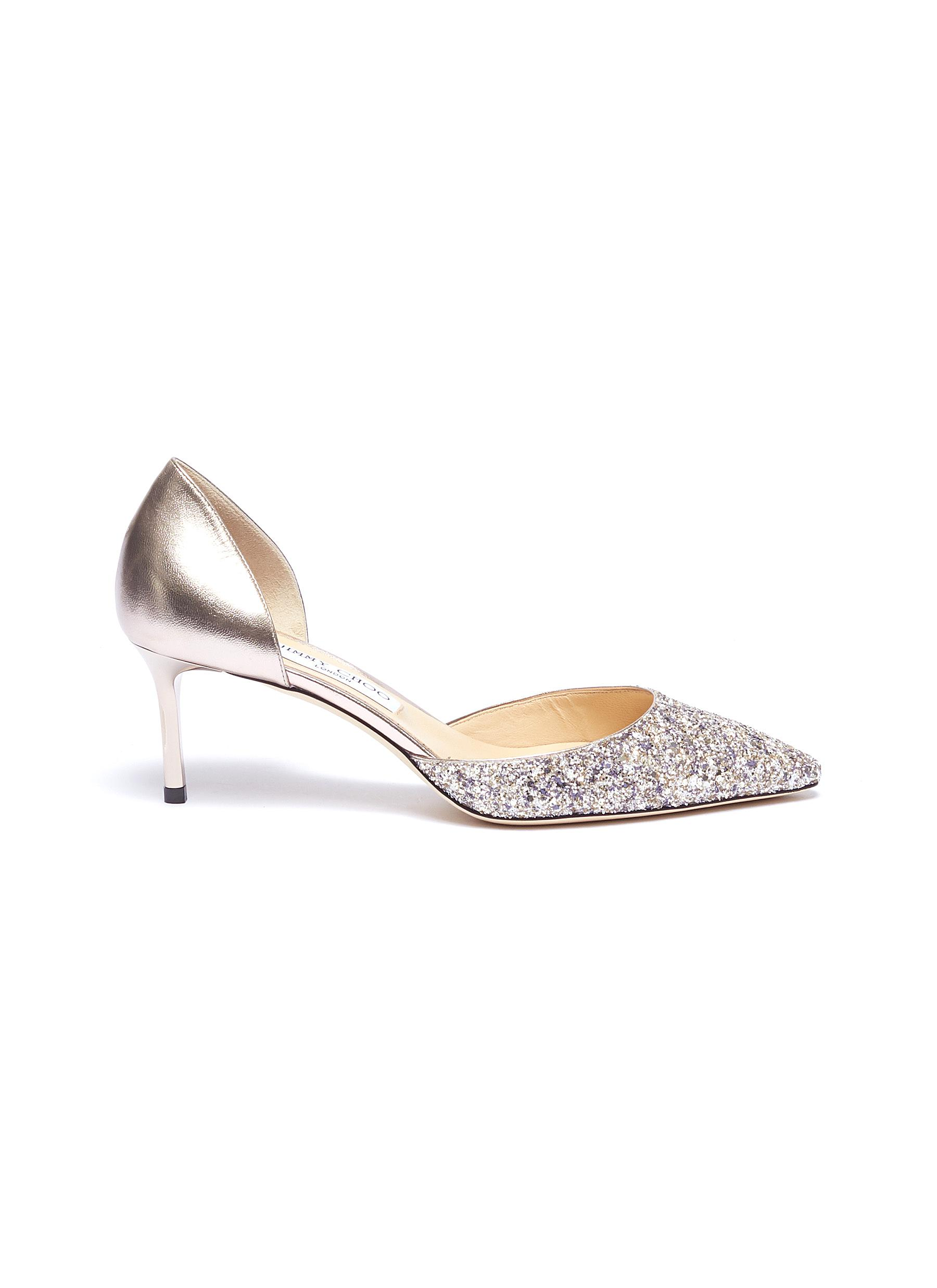 Esther 60 coarse glitter metallic leather dOrsay pumps by Jimmy Choo