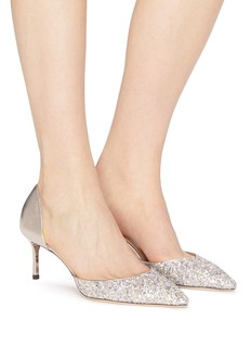 Jimmy Choo 'Esther 60' coarse glitter metallic leather d'Orsay pumps