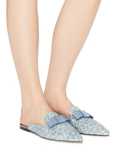 Jimmy Choo 'Galaxy' bow coarse glitter loafer slides