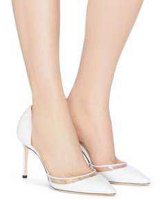 Jimmy Choo 'Esther 85' PVC panel leather d'Orsay pumps