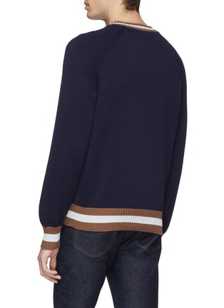 Back View - Click To Enlarge - Brunello Cucinelli - Stripe border cotton raglan sweater