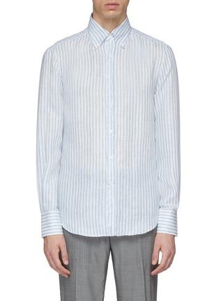 Main View - Click To Enlarge - Brunello Cucinelli - Stripe linen shirt