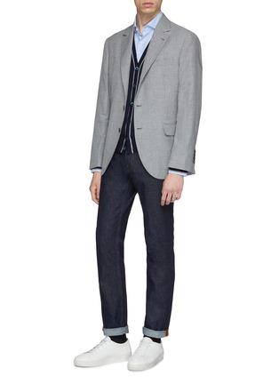 Figure View - Click To Enlarge - Brunello Cucinelli - Linen-wool-silk houndstooth soft blazer