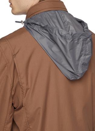 Detail View - Click To Enlarge - Brunello Cucinelli - Retractable hood water-repellent varsity jacket