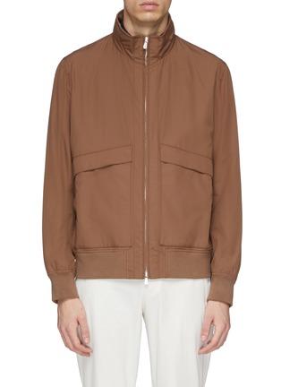 Main View - Click To Enlarge - Brunello Cucinelli - Retractable hood water-repellent varsity jacket