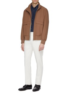Brunello Cucinelli Retractable hood water-repellent varsity jacket