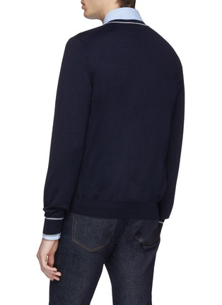 Back View - Click To Enlarge - Brunello Cucinelli - Stripe border virgin wool-cashmere cardigan